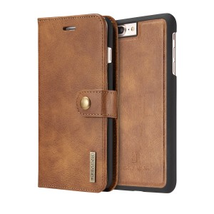 DG MING Apple iPhone 7 Plus, Apple iPhone 8 Plus Case Vintage Genuine Leather Wallet Case Flip cover Magnetic Detachable Removable Cover Case with Card Holder for Apple iPhone 7 Plus, Apple iPhone 8 Plus (Tan brown)