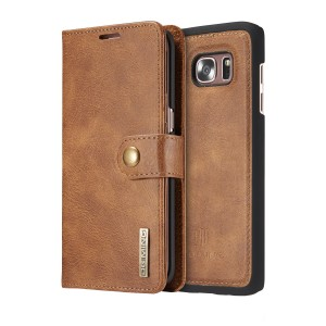 DG MING Samsung Galaxy S7 edge Case,Vintage Genuine Leather Wallet Case, Flip cover Magnetic Detachable Leather Back Cover 3 Card Slots 1 Cash Slot Removable Cover Case with Card Holder for Samsung Galaxy S7 edge (Tan brown)