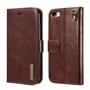 DG MING Apple iPhone 6 Plus, Apple iPhone 6s Plus Case Slim Genuine Leather Wallet Case Flip cover Magnetic Detachable Leather Back Cover Compatible with Magnetic Car Stand for Apple iPhone 6 Plus, Apple iPhone 6s Plus (Coffee)