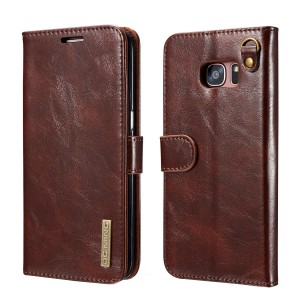 DG MING Samsung Galaxy S7 edge Case, Slim Genuine Leather Wallet Case, Flip cover Magnetic Detachable Leather Back Cover Compatible with Magnetic Car Stand for Samsung Galaxy S7 edge (Coffee)