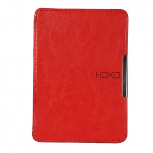 HOKO Red Slim Leather Flip Case Cover with magnetic closure for New Kindle Paperwhite (Auto wake and sleep)