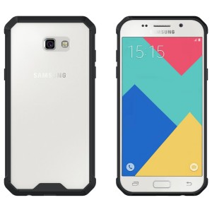 CUBIX Hybrid Air Case Soft Bumper and Hard Acrylic Crystal Transparent Back Cover TPU Cover Case for Samsung Galaxy A7 2017 (Black) Scratch Resistant Shock Absorbing