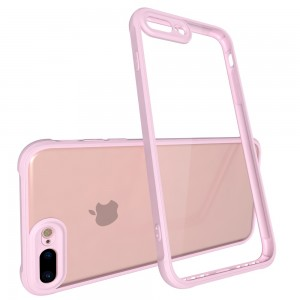 CUBIX Air Bag Case For Apple iPhone 7 Plus, Apple iPhone 8 Plus Shock Absorbing Soft Bumper and Hard Acrylic Anti Scratch Crystal Transparent Back Cover Case for Apple iPhone 7 Plus, Apple iPhone 8 Plus (Rose)