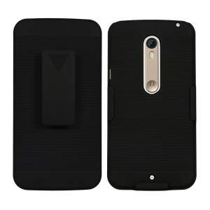 Motorola Moto X Style Case : Cubix Ribbed Holster Combo Back Case Cover For Motorola Moto X Style with Kick-Stand & Belt Clip (Jet Black)