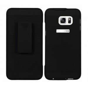 Samsung Galaxy S6 EDGE+, Galaxy S6 Edge Plus Case : Cubix Ribbed Holster Combo Back Case Cover For Samsung Galaxy S6 EDGE+, Galaxy S6 Edge Plus with Kick-Stand & Belt Clip (Jet Black)
