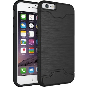 Apple iPhone 6, Apple iPhone 6s Case Cubix Light Armor Series Cover Brushed Bumper Shock Absorbing Hard Slim Thin Protective Case Wallet ID Card Slot Kickstand Case Cover For Apple iPhone 6, Apple iPhone 6s (Black)