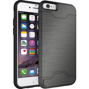 Apple iPhone 6 Plus, Apple iPhone 6s Plus Case Cubix Light Armor Series Cover Brushed Bumper Shock Absorbing Hard Slim Thin Protective Case Wallet ID Card Slot Kickstand Case Cover For Apple iPhone 6 Plus, Apple iPhone 6s Plus (Grey)