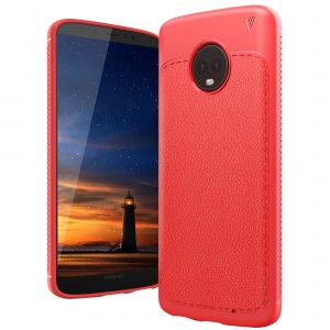 Cubix Leather TPU Case, [Lightweight Bumper] [Anti-Scratch] [Leather Texture Pattern] Shock Resistant Rubber Silicone TPU Slim Case for Moto G6 Plus (Red)