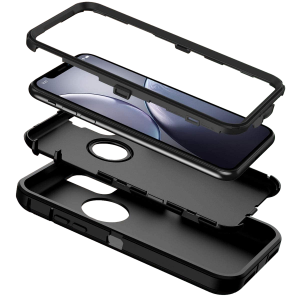 Cubix DEFENDER SERIES Case for Apple iPhone XR (6.1 Inch) - BLACK 360 Degree Case Protects Front and Back