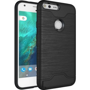 Google Pixel XL Case, Cubix Light Armor Series Cover Brushed Bumper Shock Absorbing Hard Slim Thin Protective Case, Wallet ID Card Slot, Kickstand Case Cover For Google Pixel XL (Black)