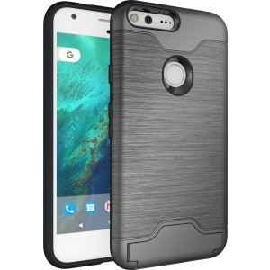 Google Pixel XL Case, Cubix Light Armor Series Cover Brushed Bumper Shock Absorbing Hard Slim Thin Protective Case, Wallet ID Card Slot, Kickstand Case Cover For Google Pixel XL (Grey)