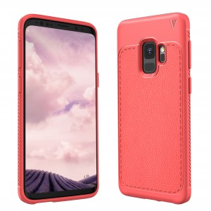 Cubix Leather TPU Case, [Lightweight Bumper] [Anti-Scratch] [Leather Texture Pattern] Shock Resistant Rubber Silicone TPU Slim Case for Samsung Galaxy S9 (Red)