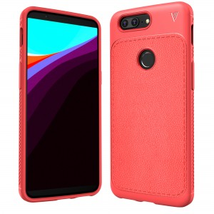 Cubix Leather TPU Case, [Lightweight Bumper] [Anti-Scratch] [Leather Texture Pattern] Shock Resistant Rubber Silicone TPU Slim Case for OnePlus 5T, One Plus 5T (Red)