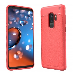 Cubix Leather TPU Case, [Lightweight Bumper] [Anti-Scratch] [Leather Texture Pattern] Shock Resistant Rubber Silicone TPU Slim Case for Samsung Galaxy S9+, Galaxy S9 Plus (Red)
